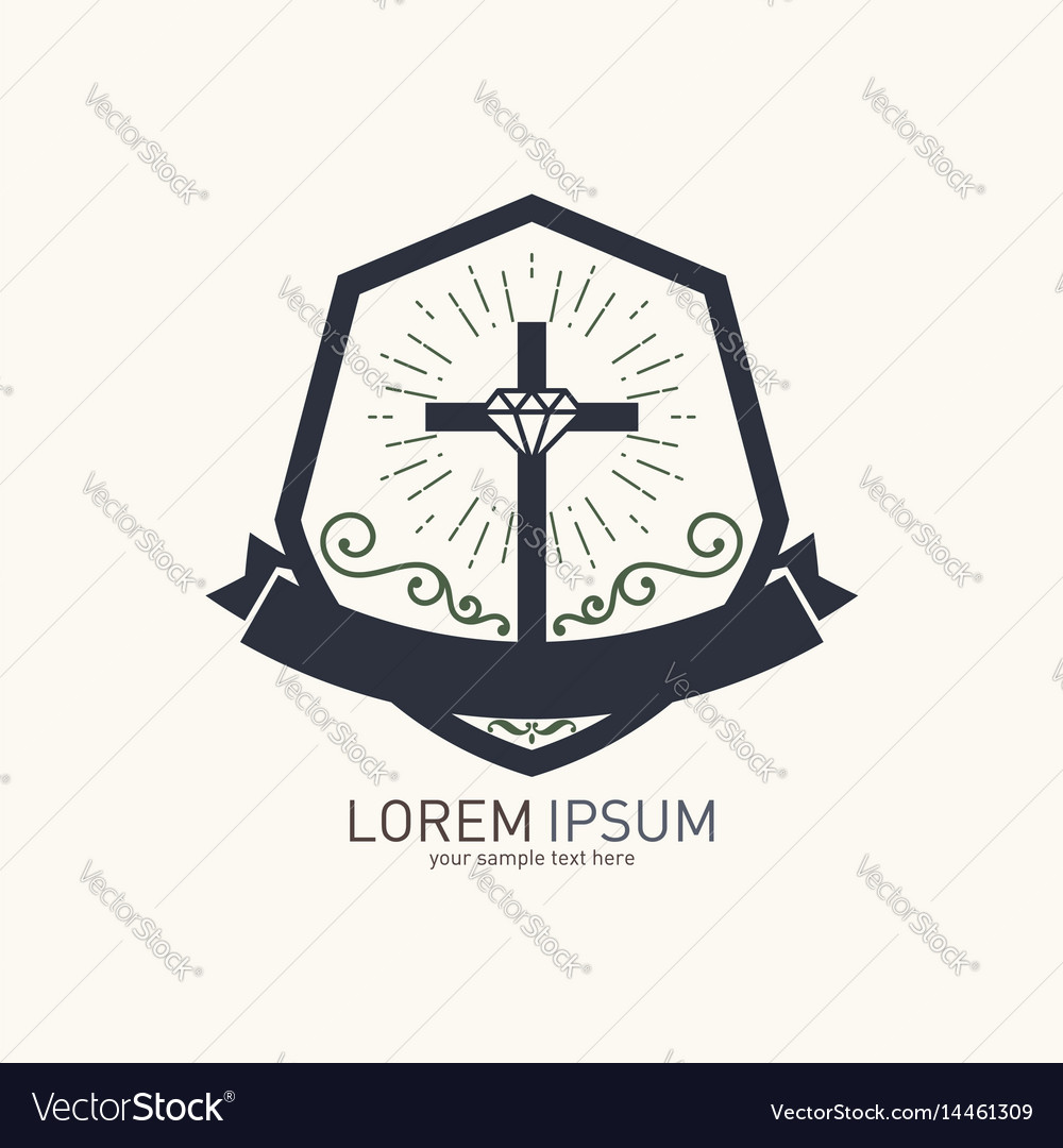 Christian Logo With Biblical Symbols Royalty Free Vector