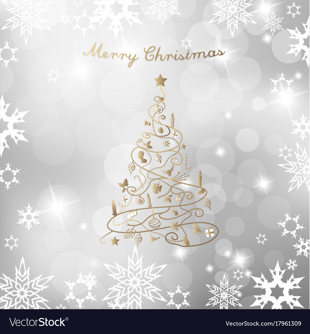 Christmas Tree On Silver Background And Merry Vector Image