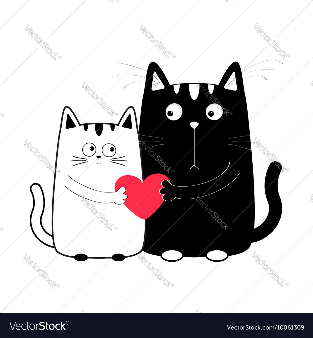 Cute cartoon black white cat boy and girl holding