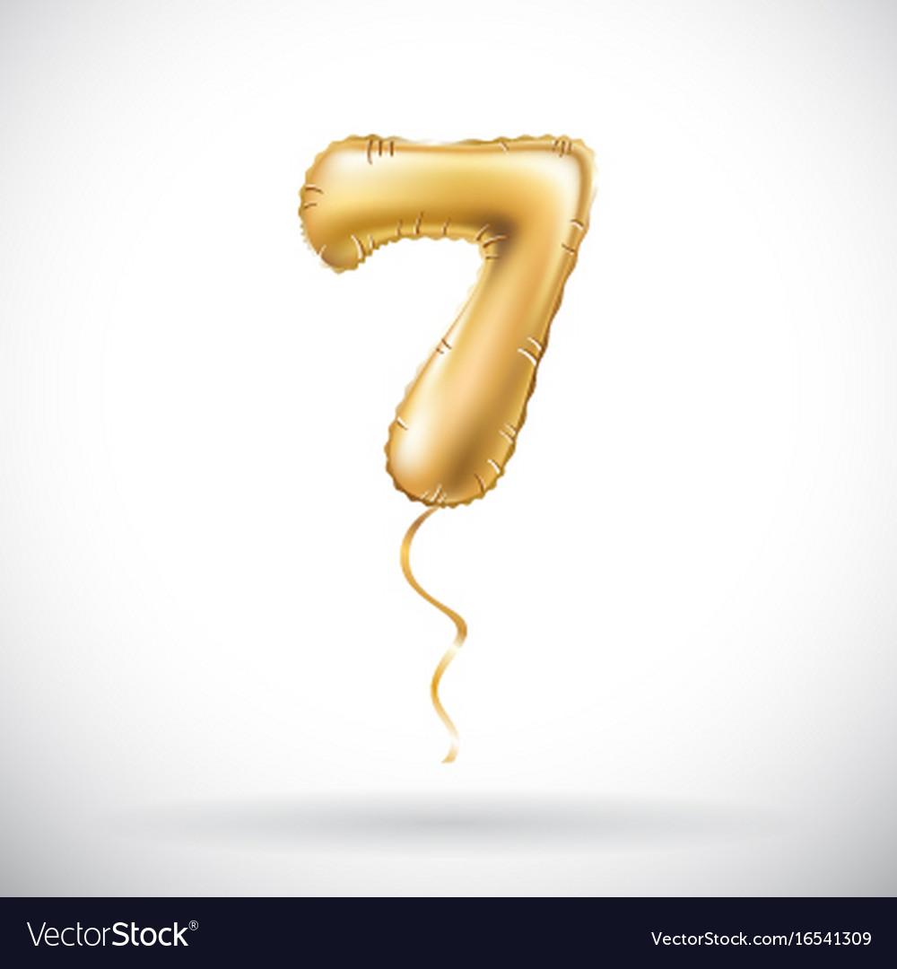 Golden number 7 seven metallic balloon party
