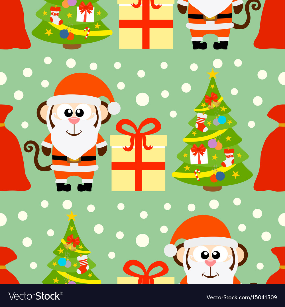 New year seamless card with monkey santa claus and vector image