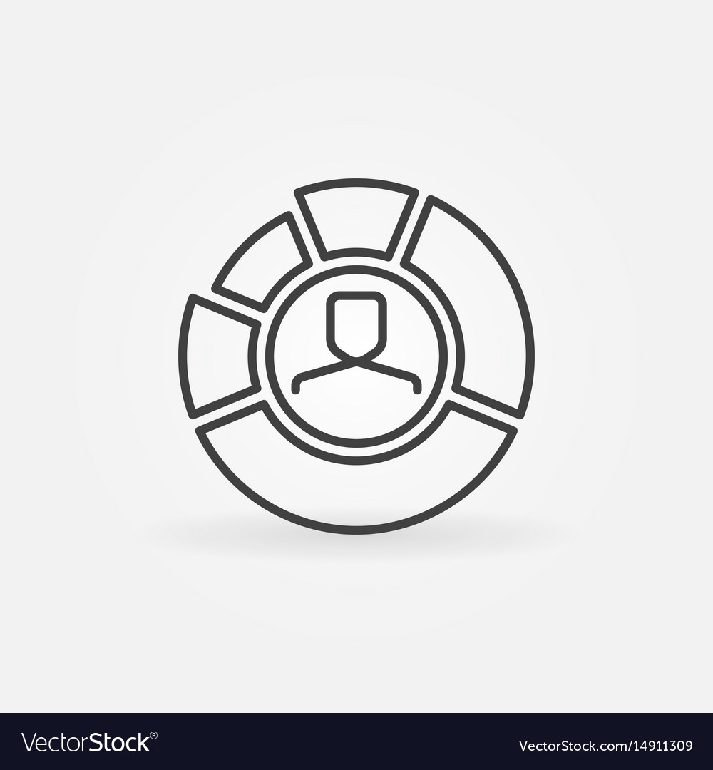 pie chart with face inside outline icon royalty free vectorpie chart with face inside outline icon vector image