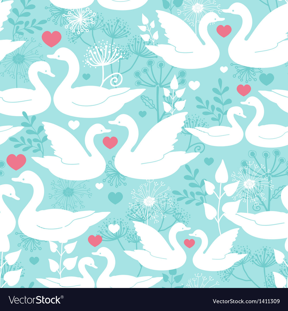 Swans in love seamless pattern background