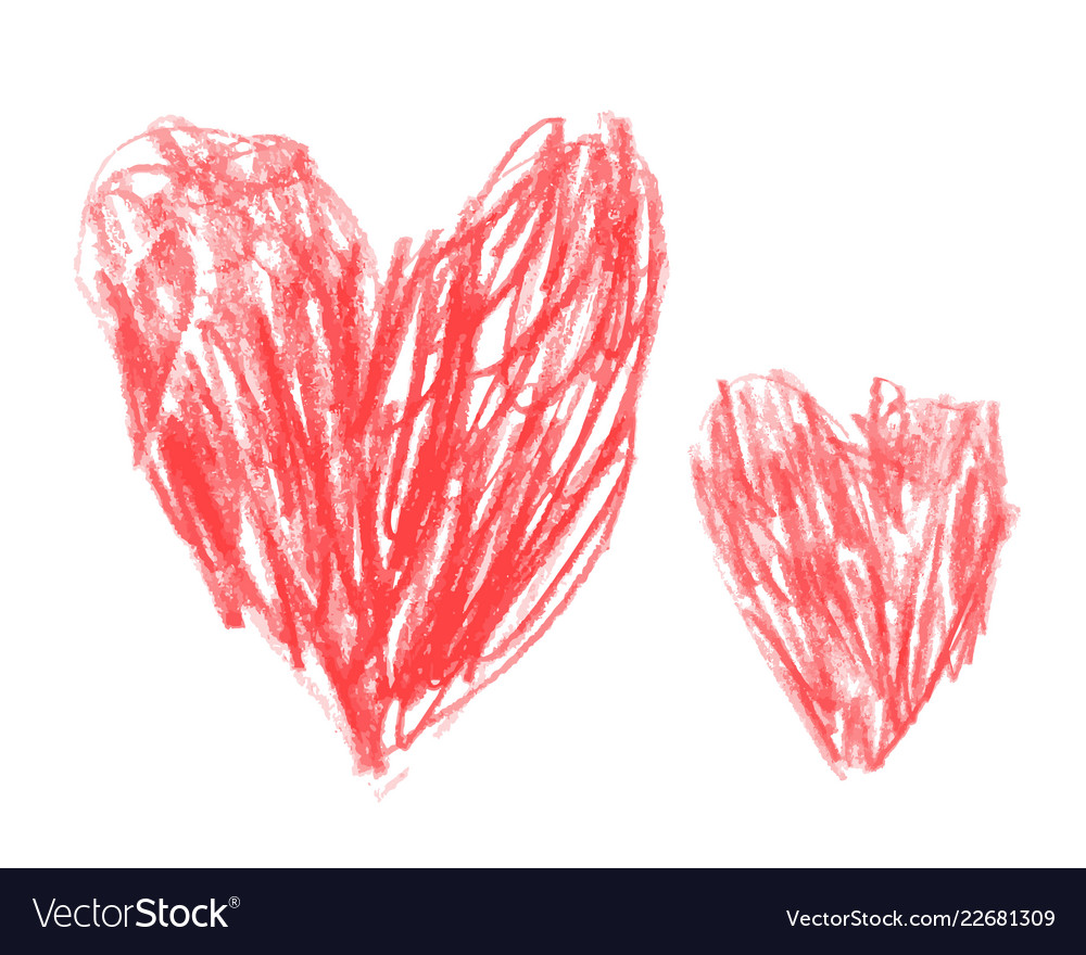 Two hand drawn love red hearts pencil style