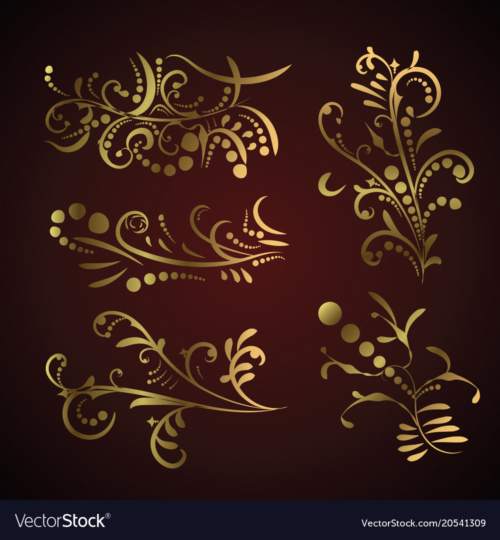 7f56557bd6bf Victorian set of golden ornate page decor elements vector image