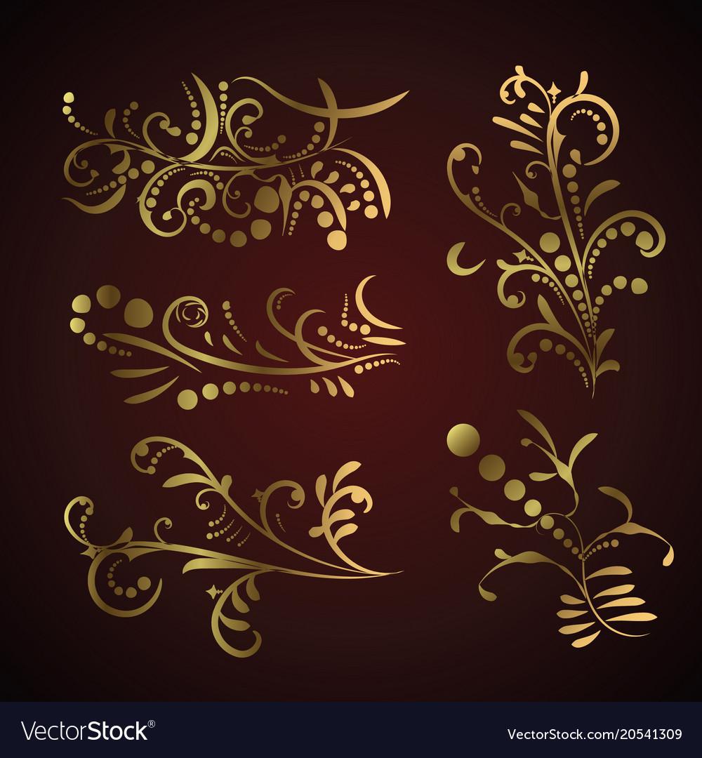 Victorian set of golden ornate page decor elements