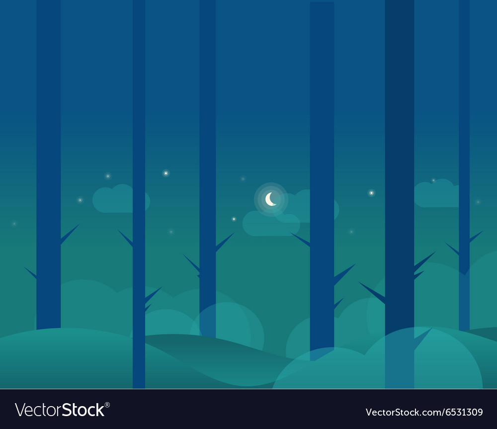 Wallpaper Landscape Of Winter Forest And Moon