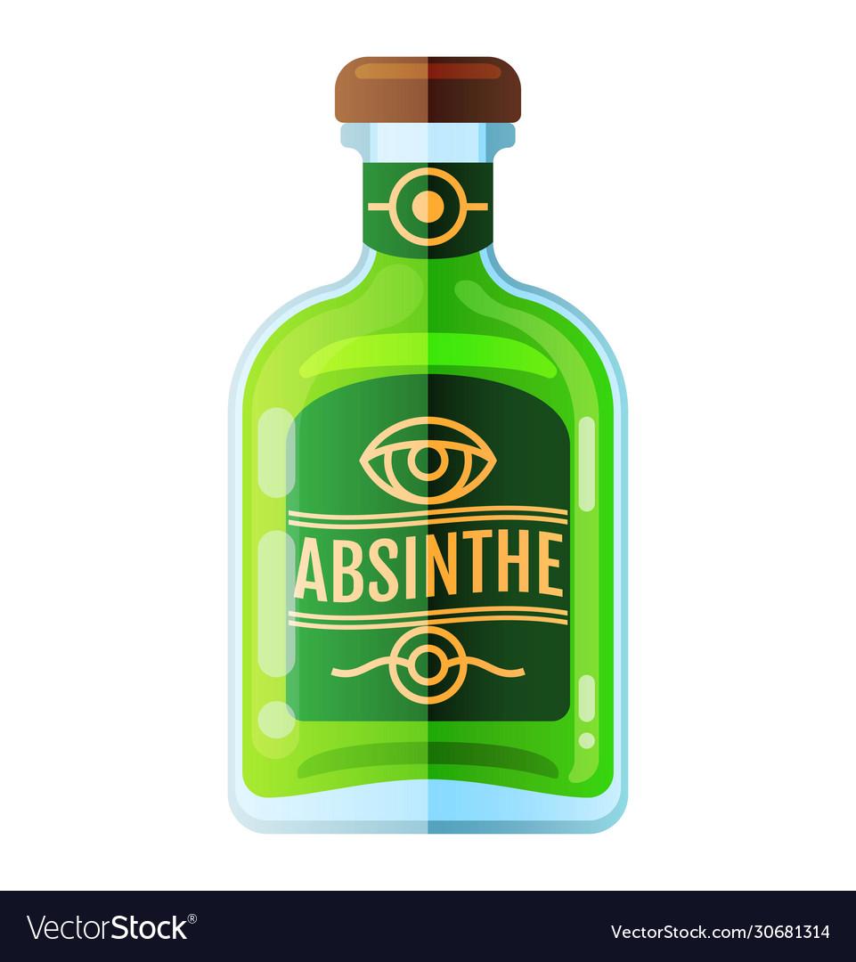 Absinbottle beverage flat icon sign
