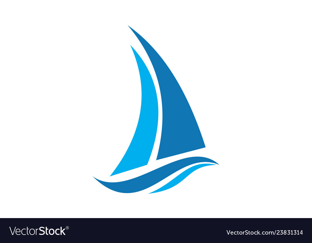 Abstract sailboat waves logo icon