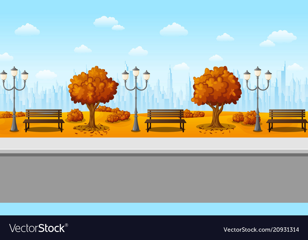 Autumn city park with benches and trees