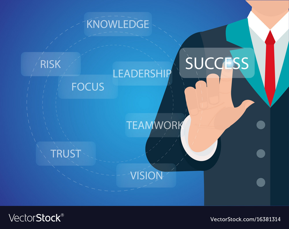 Businessman hand touching button key to success vector image