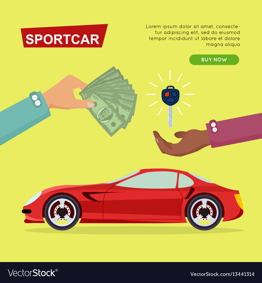 Buying sportcar online car sale web banner Vector Image