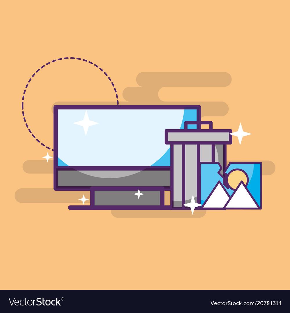 Computer trash can photo album digital vector image
