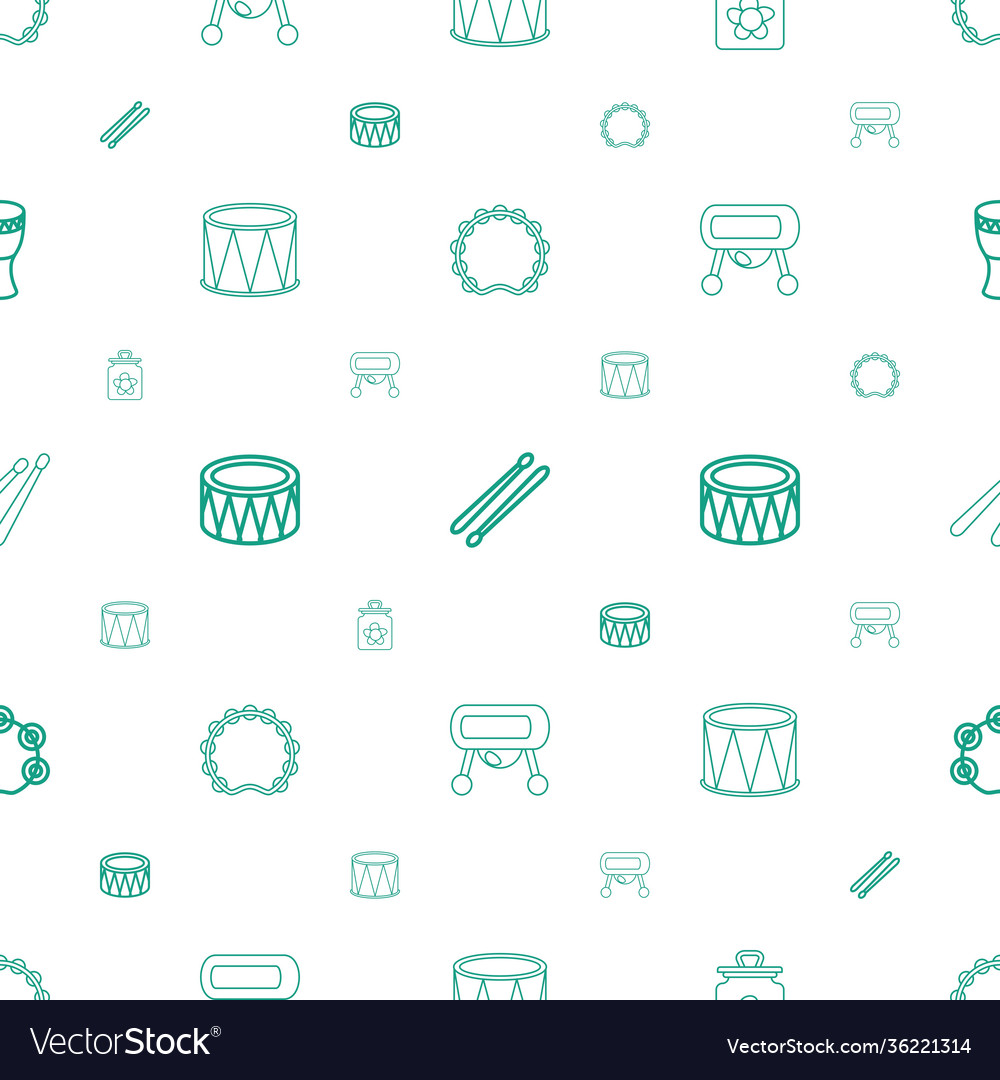 Drum icons pattern seamless white background