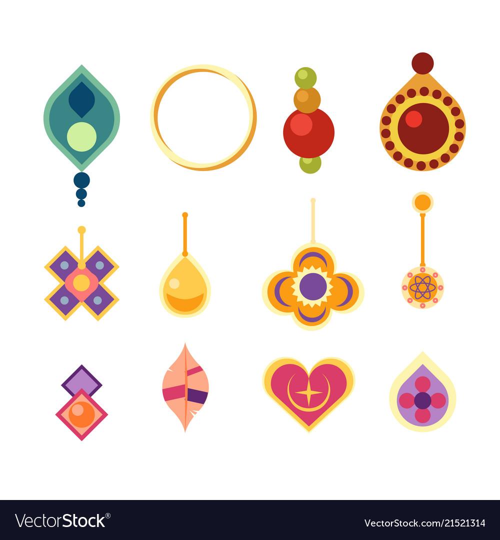 Earrings icon set