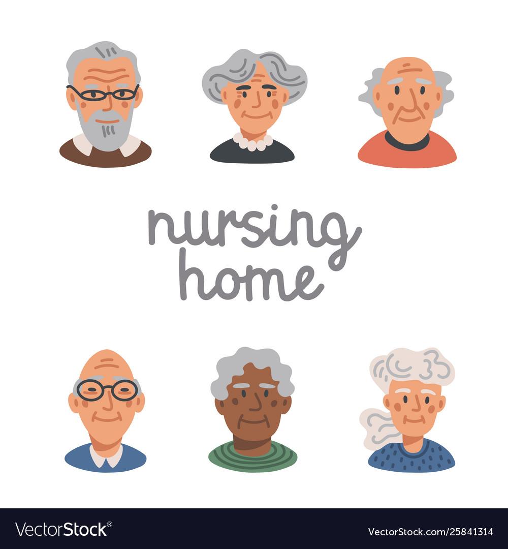Elderly people avatar set portraits old people