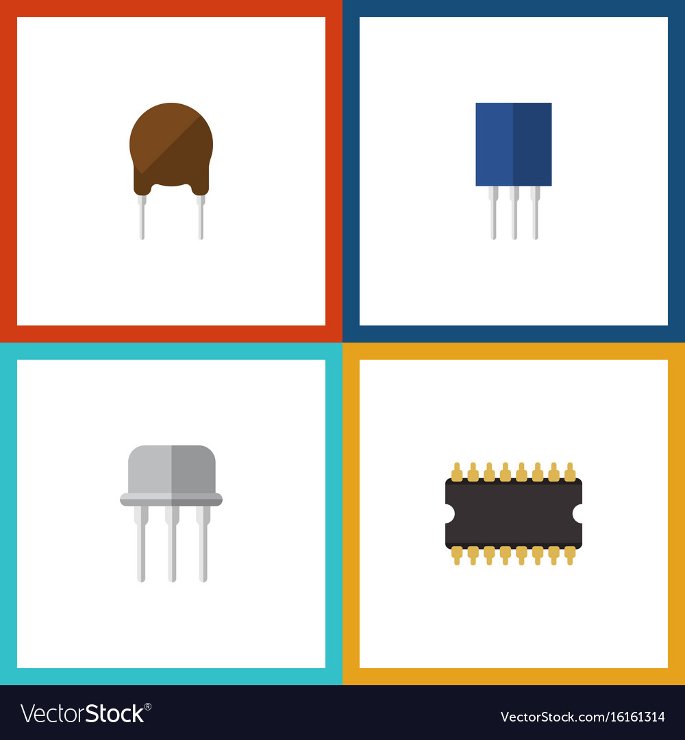 Flat icon technology set of resist triode vector image