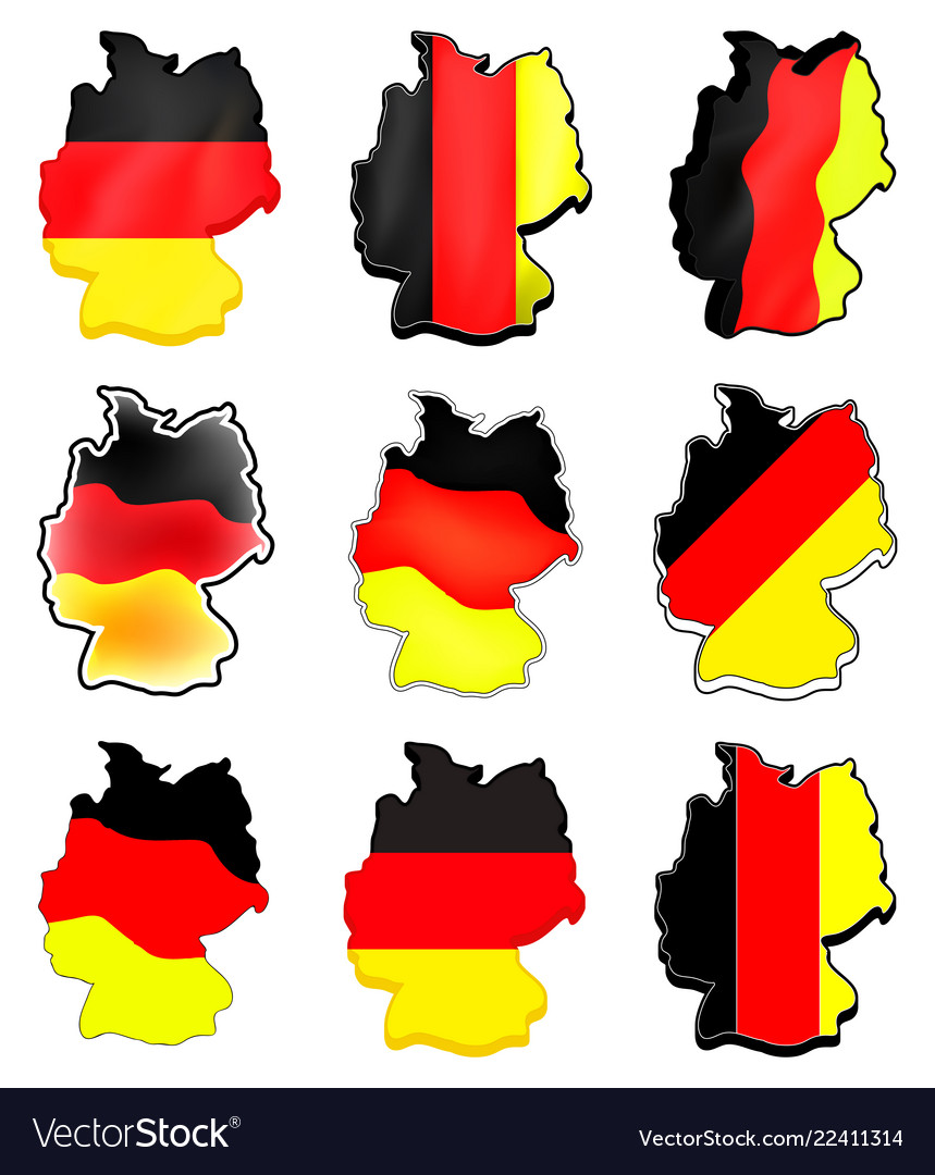 Germany map set symbol icon design german flag on german flags of the world, germany map, state flags map, rhine river map, england map, german stereotypes, german world war 1 map, german state flags,
