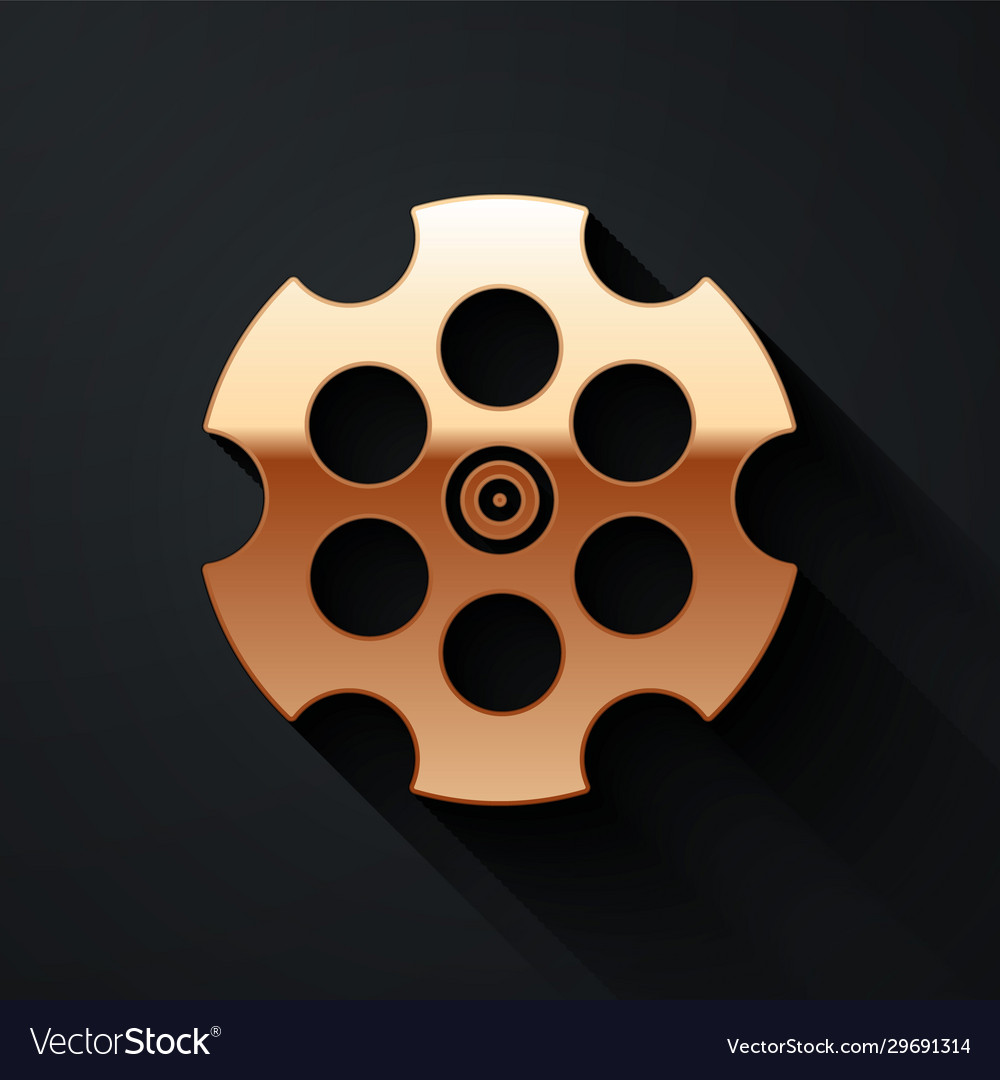 Gold revolver cylinder icon isolated on black
