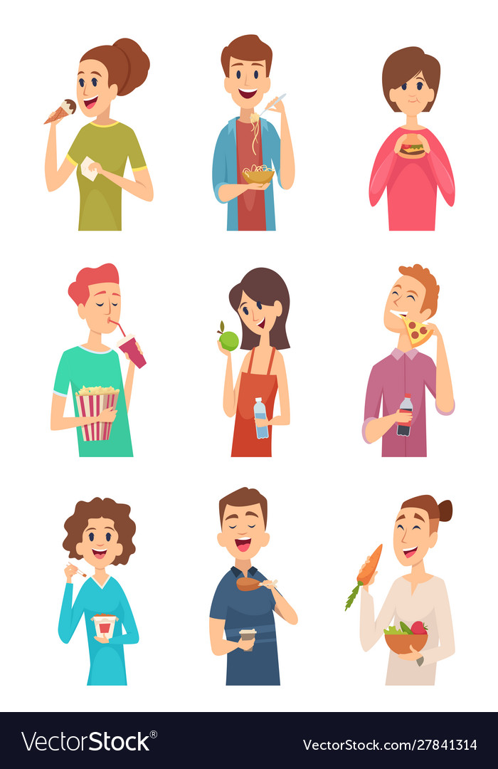 People eating hungry persons with different foods