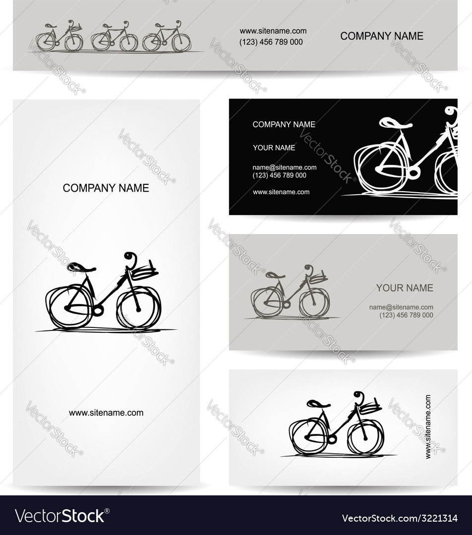 Set of business cards design with bicycle sketch Vector Image