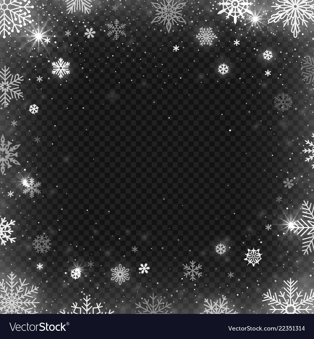 Snowflakes frame winter snowed border frost