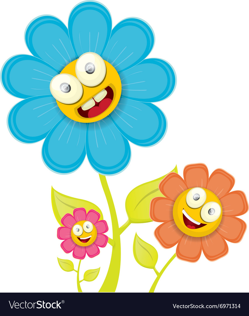 Spring Cartoon Flowers Isolated On White Vector Image