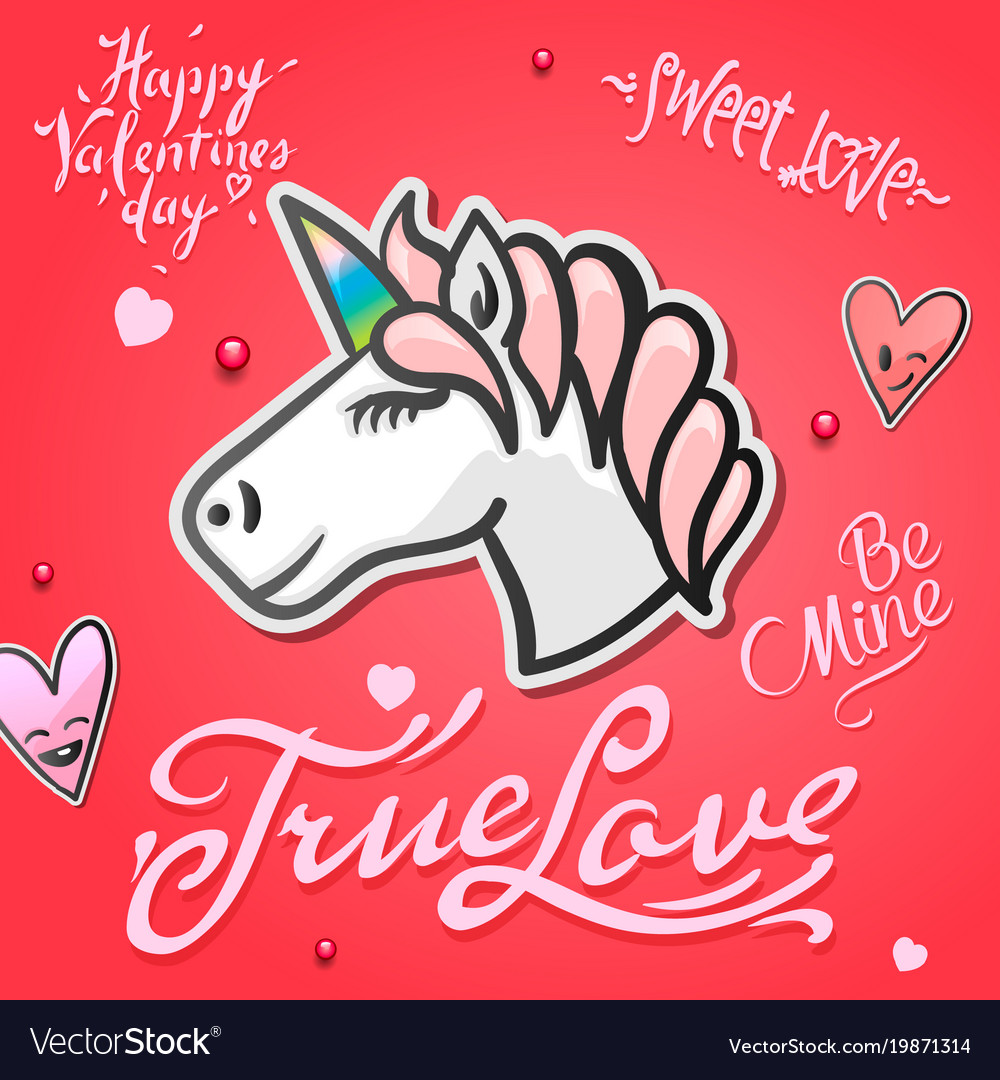 Valentines day card with cute unicorn animal