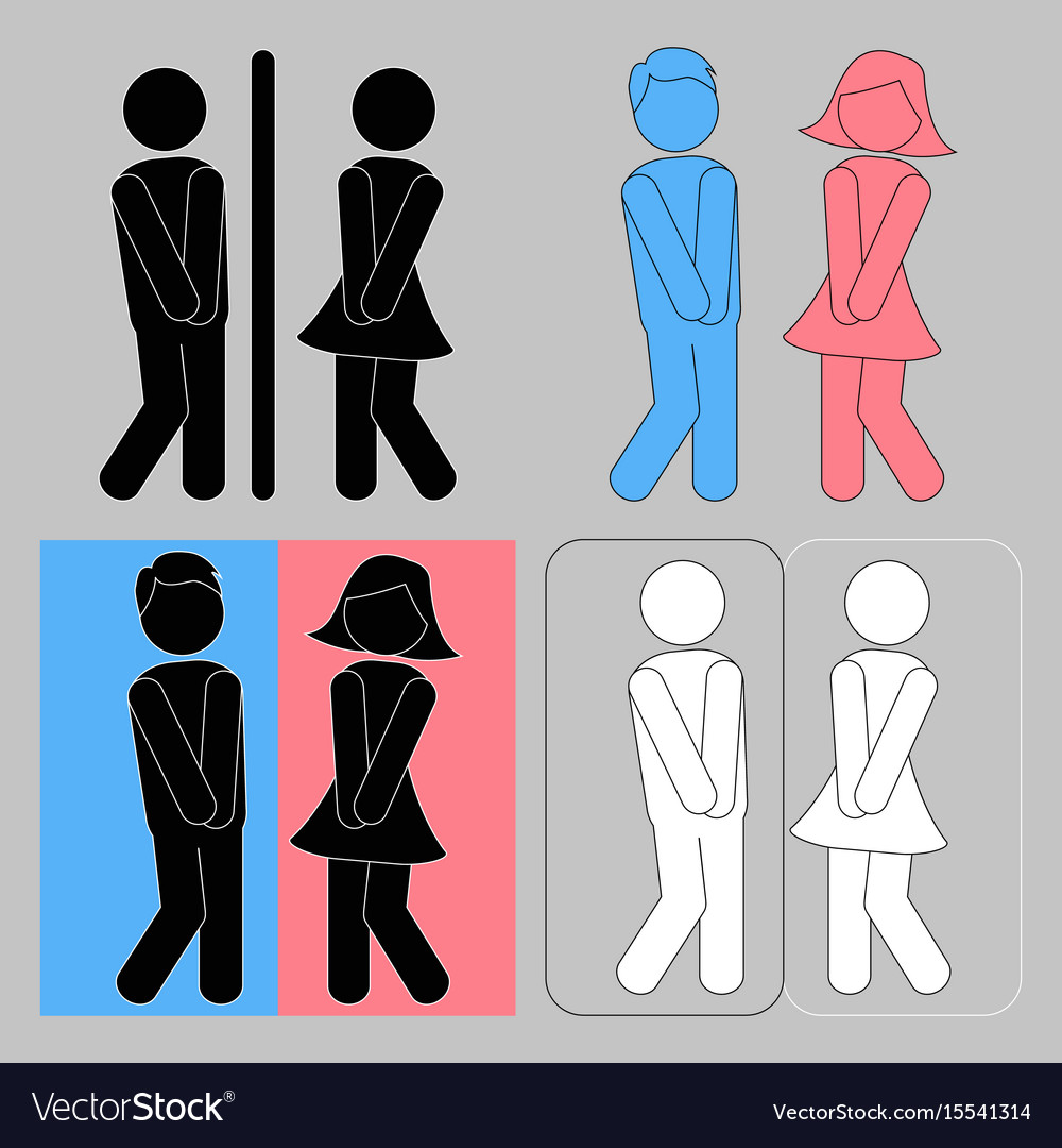 Wc sign boy and girl toilet icons