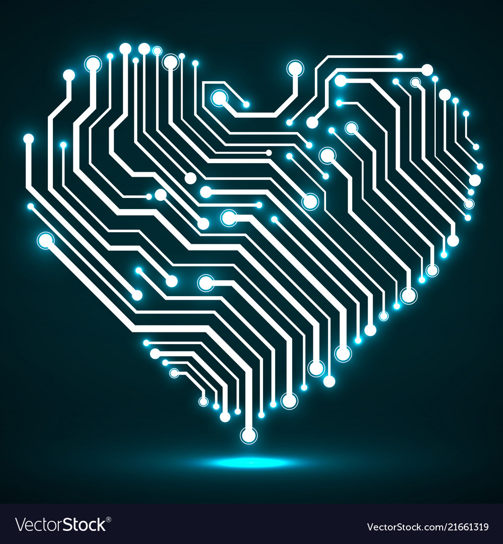 Abstract neon circuit board in shape heart