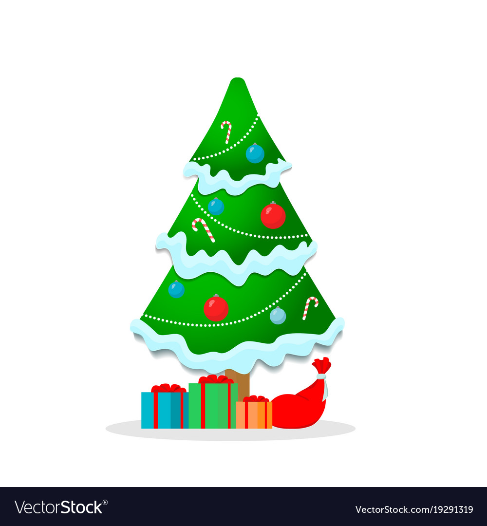 beautiful christmas tree with garland snow gifts vector image - Christmas Tree With Garland