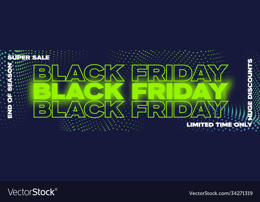 Black friday neon typography banner poster or