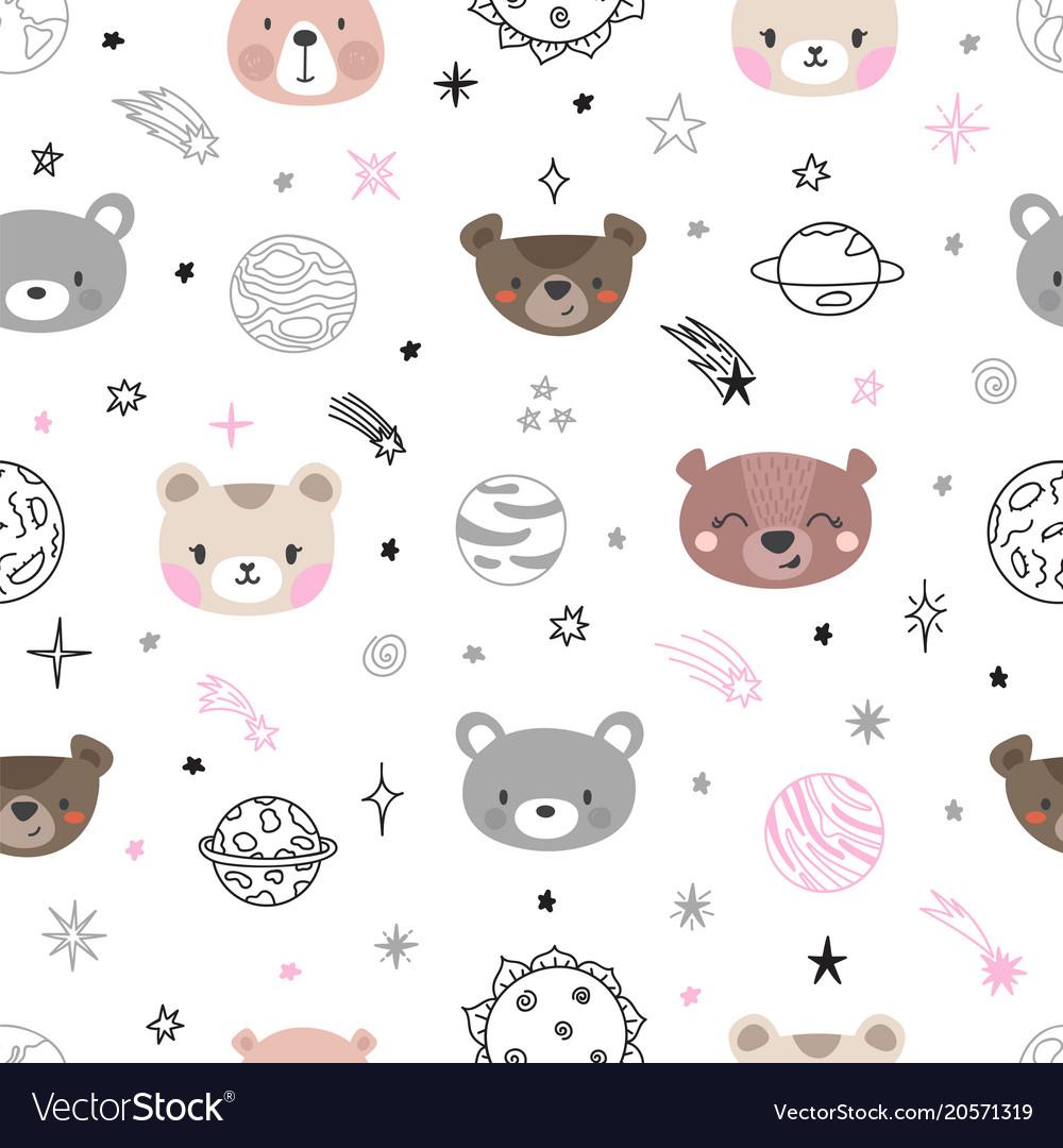 Cute space seamless pattern with cartoon bears