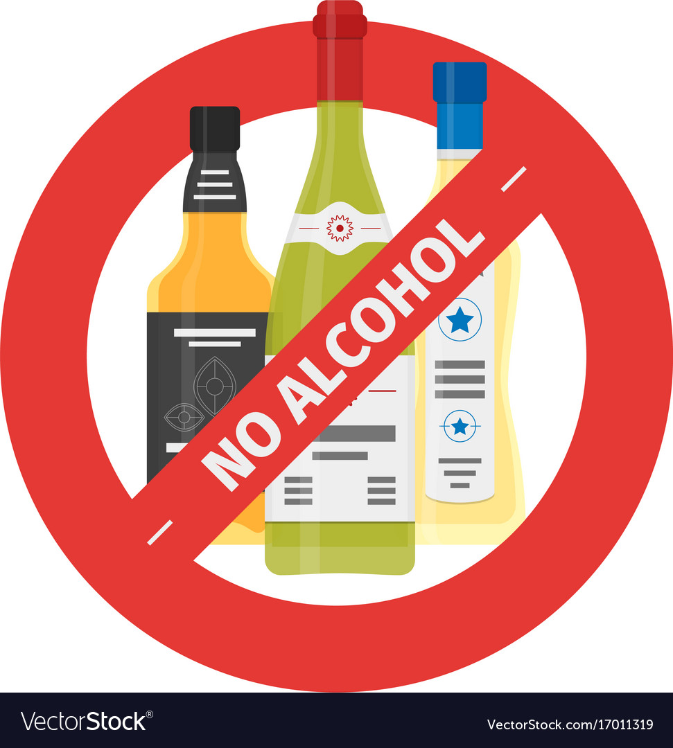 Flat stop drinking icon of alcohol bottles