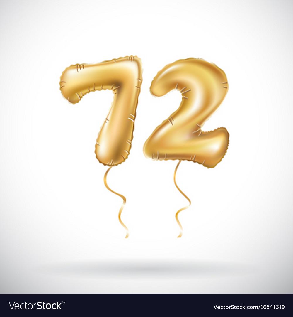 Golden number 72 seventy two metallic balloon