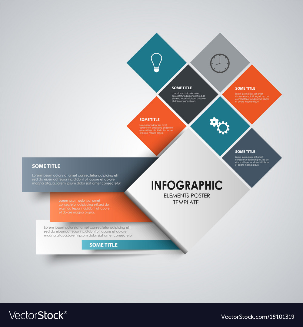 Info graphic with abstract design colored squares vector image