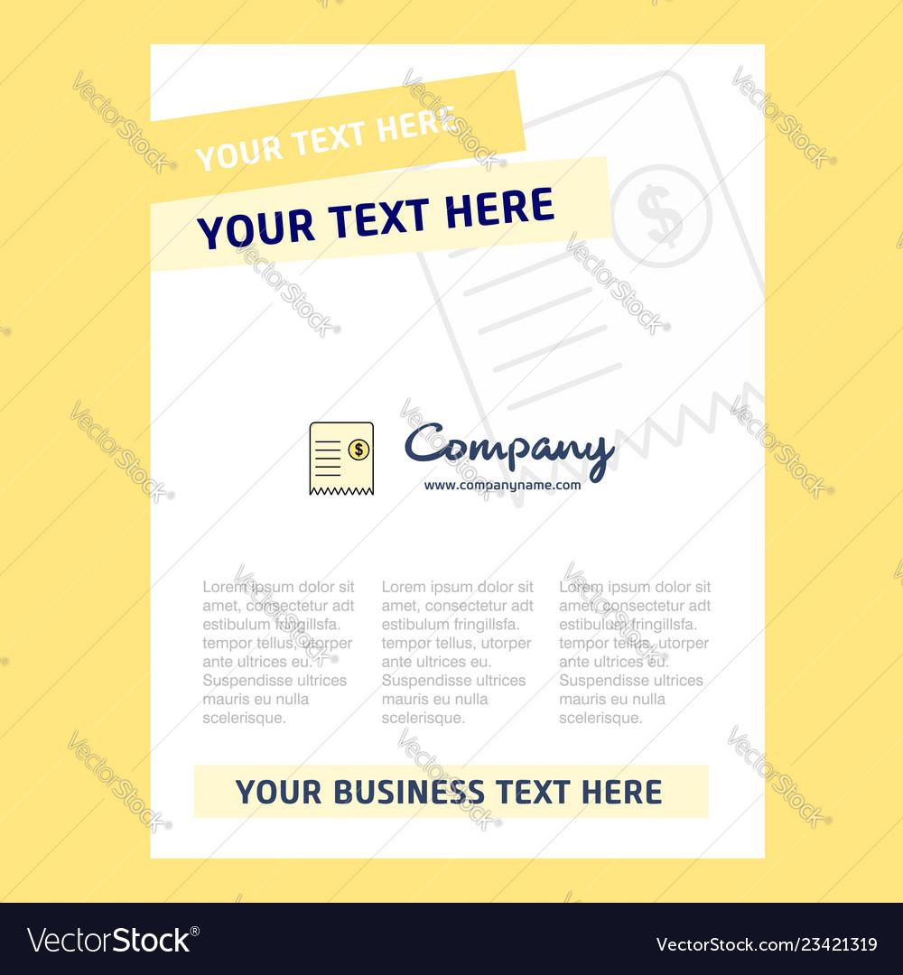 Invoice Title Page Design For Company Profile Vector Image