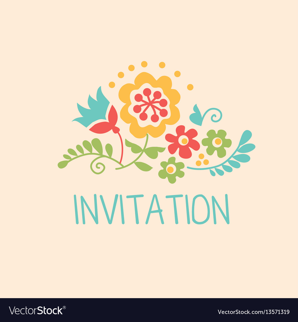 Retro style flowers in pastel color floral folk