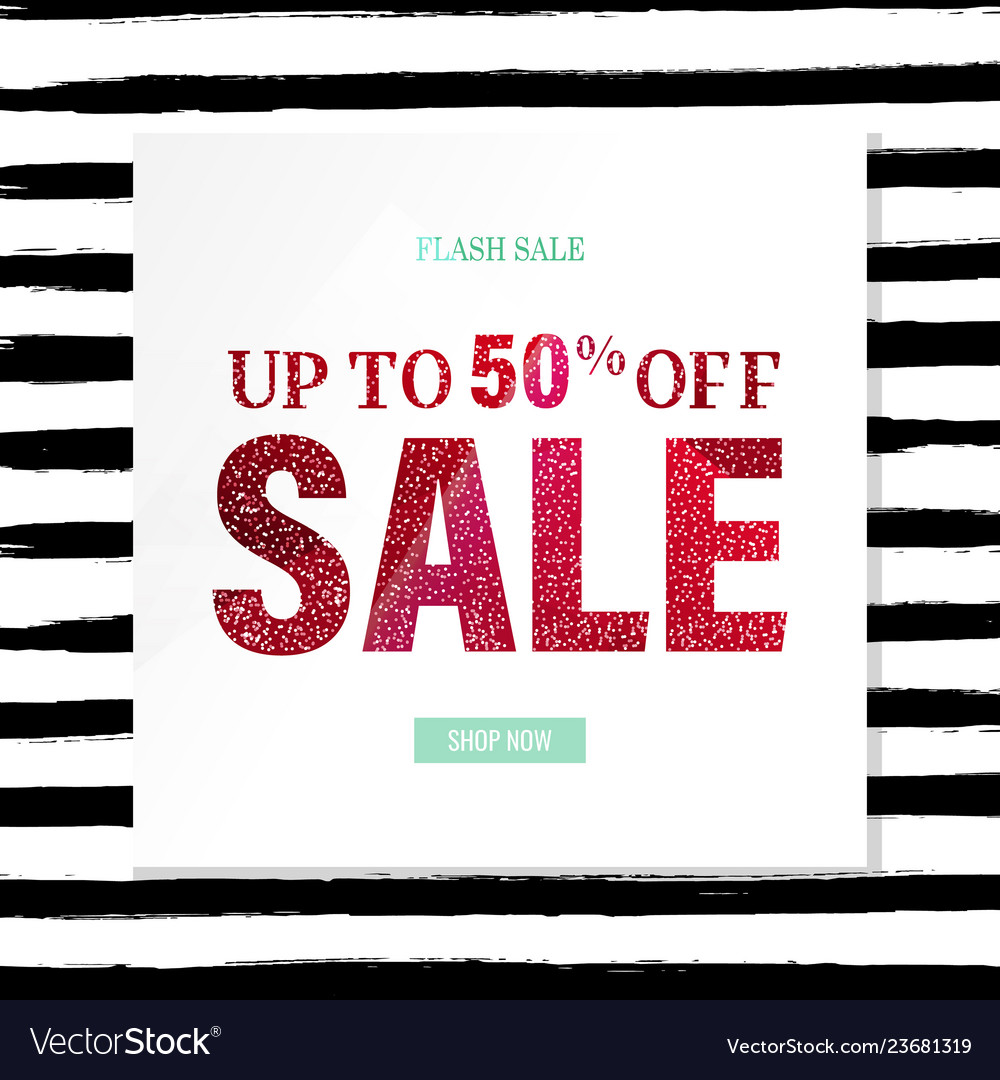 Sale poster with glitter and watercolor line