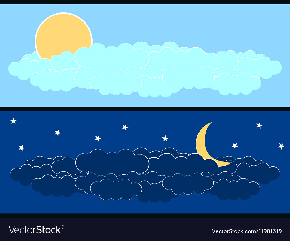 Sun with clouds moon and clouds vector image