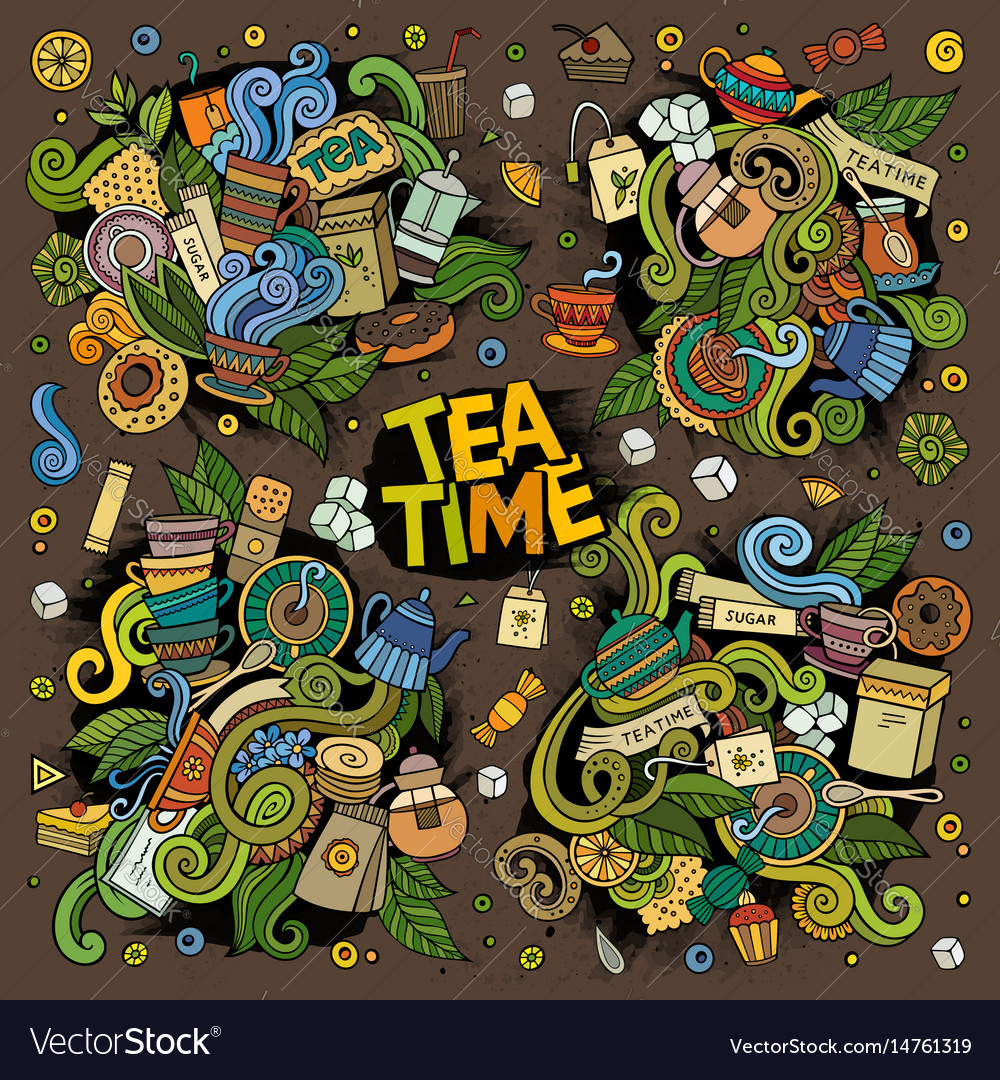 Tea time doodles design