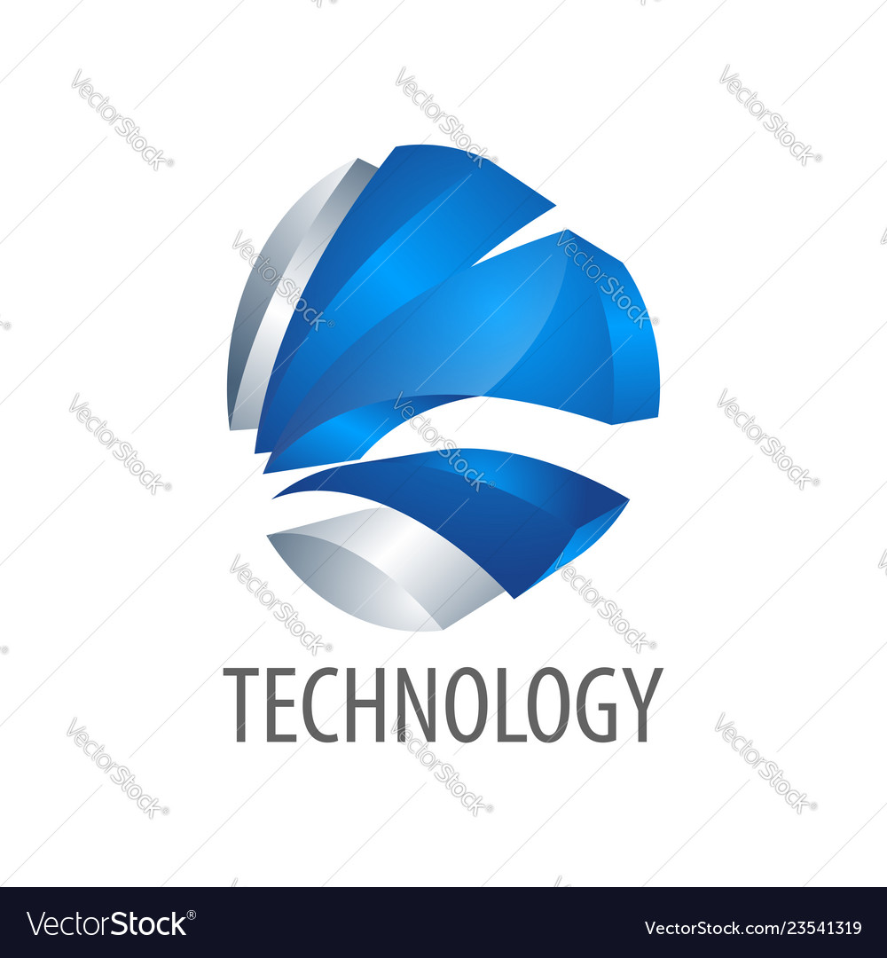 Technology three dimensional style logo concept
