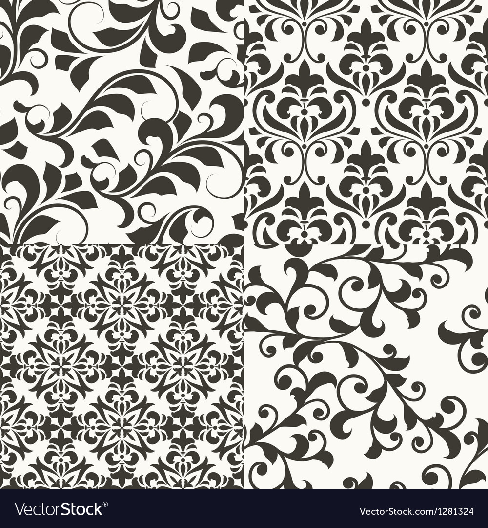 4 seamless vintage floral patterns vector image
