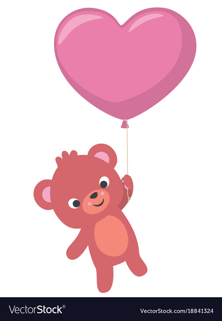 Baby bear flying with heart shaped balloon