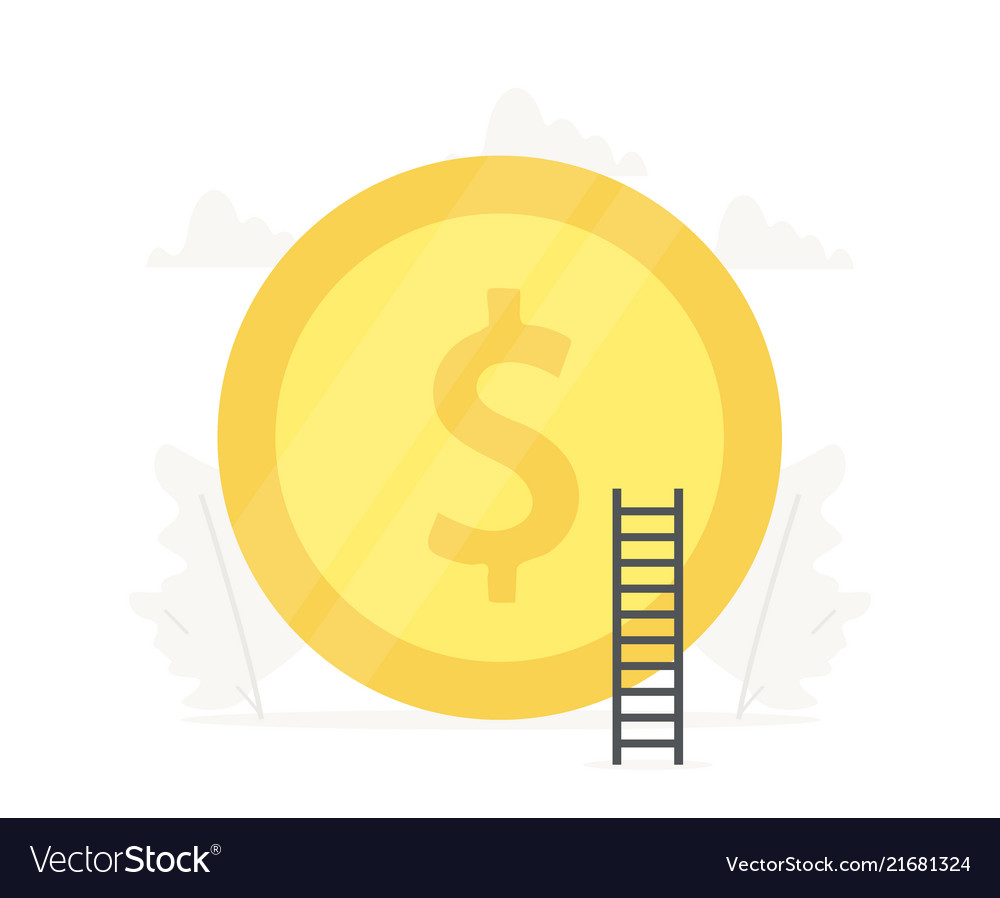 Big gold coin business presentations on white