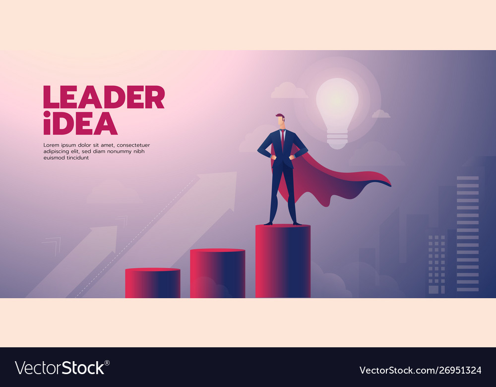 Businessman Leadership Banner With Text Royalty Free Vector