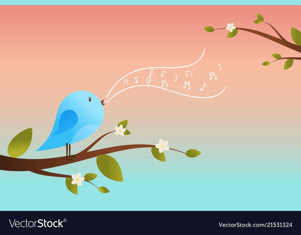 Cute bird sings spring card
