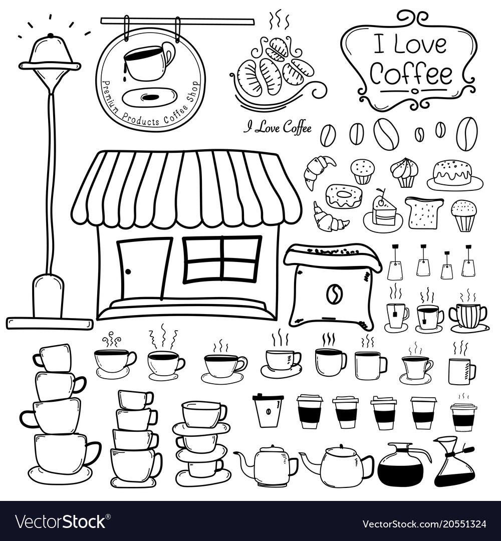 Line hand drawn doodle set of coffee shop vector image