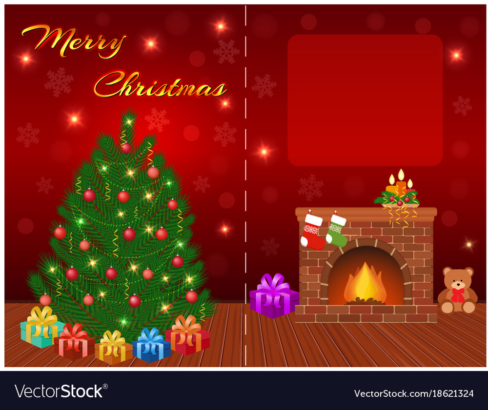 merry christmas greeting card design with empty vector image - Images Merry Christmas
