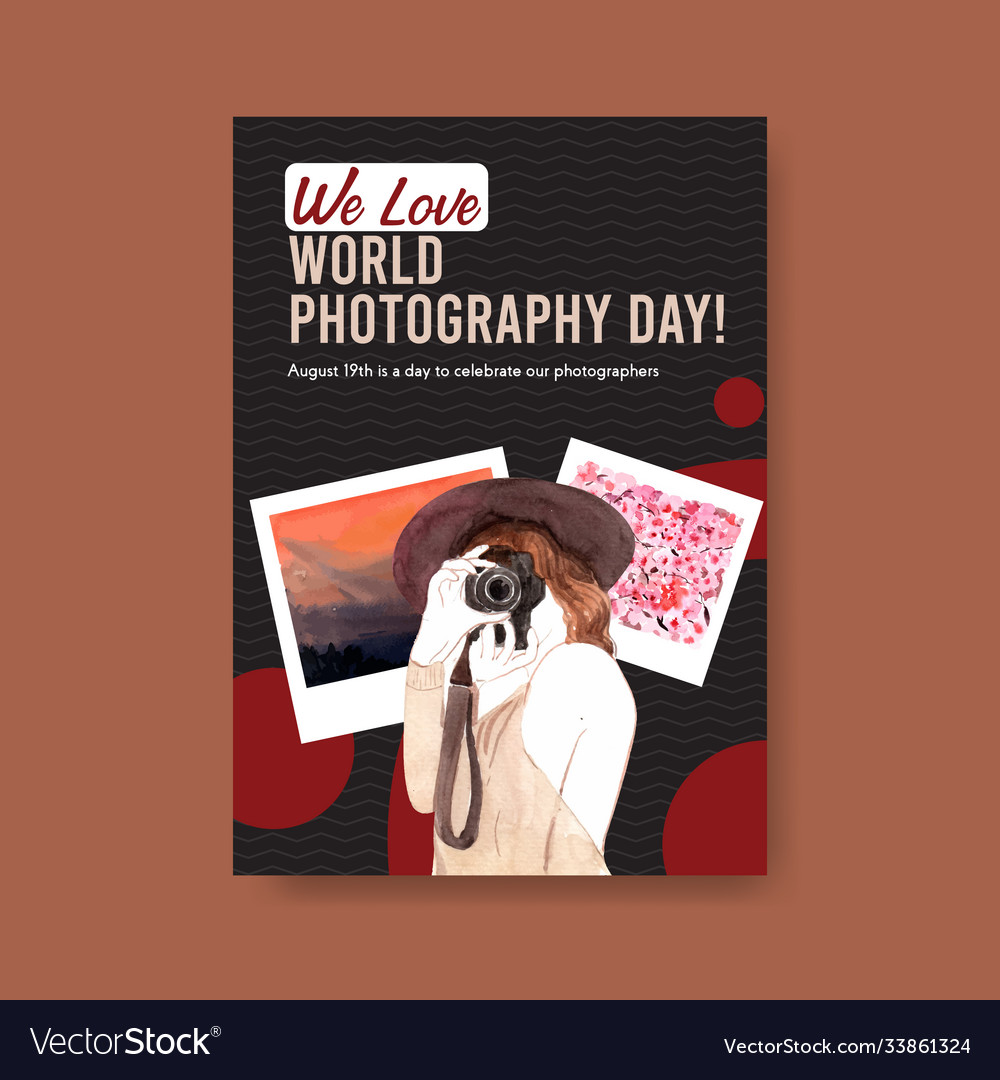 Poster template design with world photography day